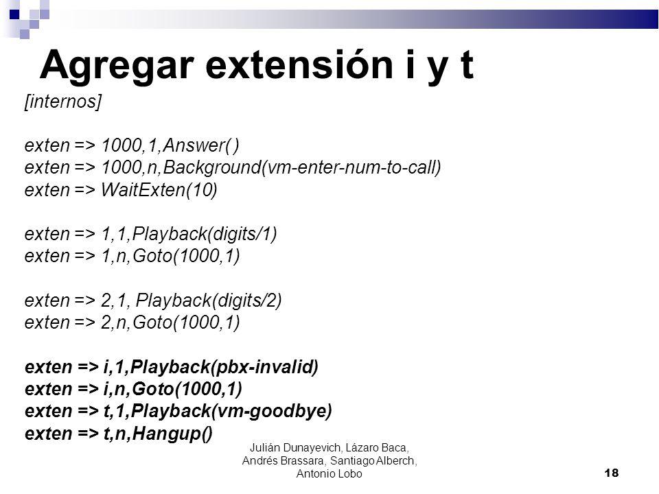 Agregar extensión i y t [internos] exten => 1000,1,Answer( )